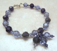 Sterling Silver And Amethyst Glass Bead Bracelet.